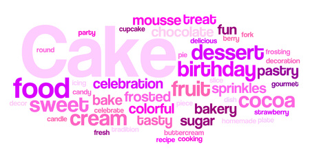 Cake word cloud, cake background concept