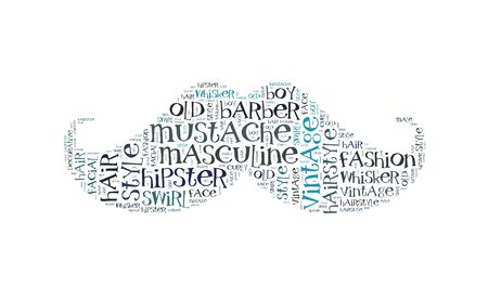 Mustache word cloud, movember symbol Stock Photo