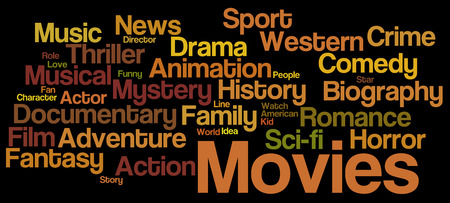 cinema screen: Movies word cloud. Movies typography background.