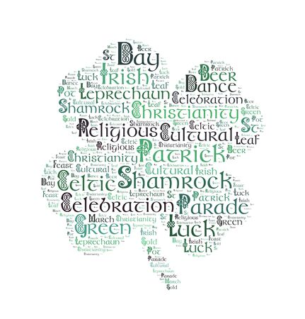 St. Patricks day  word cloud, Celtic typography background