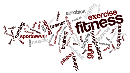 Fitness word cloud. Workout typography background. Stock Photo
