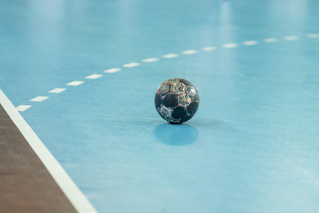 ZAGREB, CROATIA - FEBRUARY 25, 2016: EHF Champions League PPD Zagreb VS IFK Kristianstad. Ball on the playing ground