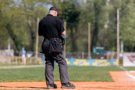Plate umpire on baseball field, copy space Stock Photo