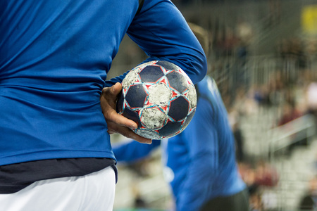 Player holding the ball, close up Stock Photo