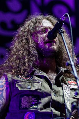 ZAGREB, CROATIA - MAY 16, 2017: Monster Truck band performing in Arena Zagreb, Croatia. Singer and bassist Jon Harvey Editorial