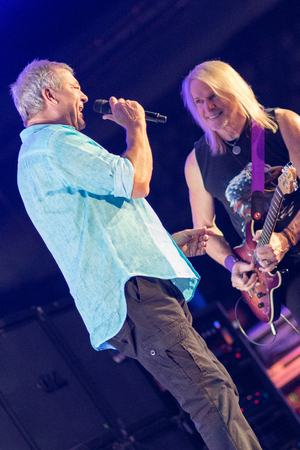 lead guitar: ZAGREB, CROATIA - MAY 16, 2017: Deep Purple lead singer Ian Gillan and guitar player Steve Morse in smoke on stage during their The Long Goodbye tour at Arena Zagreb.