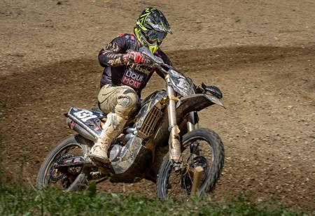 ZAGREB, CROATIA - JULY 02, 2017: Croatian Motocross championship. Motocross racer racing on the off-road circuit