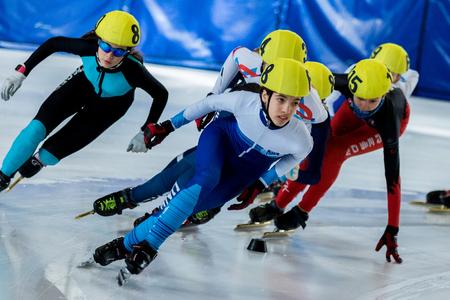 ZAGREB, CROATIA - NOVEMBER 04, 2017: Speed skating Alpe Adria Cup Zagreb. Kids athlete speed skaters on short track