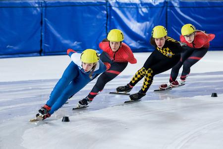 ZAGREB, CROATIA - NOVEMBER 04, 2017: Speed skating Alpe Adria Cup Zagreb. Girls athlete speed skater on short track 에디토리얼