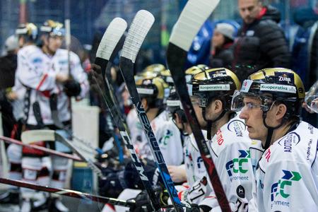 ZAGREB, CROATIA - OCTOBER 31, 2017: EBEL ice hockey league match between Medvescak Zagreb and Orli Znojmo. Hockey players in box