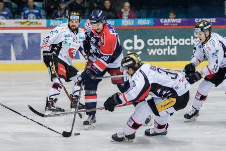 iiZAGREB, CROATIA - OCTOBER 31, 2017: EBEL ice hockey league match between Medvescak Zagreb and Orli Znojmo. Tomas KUDELKA (88) in action