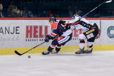 ZAGREB, CROATIA - OCTOBER 31, 2017: EBEL ice hockey league match between Medvescak Zagreb and Orli Znojmo. Mike AVIANI (93) fast sliding on ice