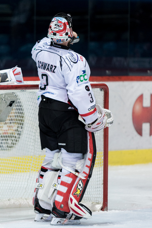 ZAGREB, CROATIA - OCTOBER 31, 2017: EBEL ice hockey league match between Medvescak Zagreb and Orli Znojmo. Hockey goalie is drinking water