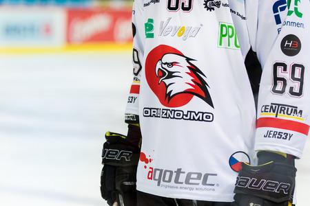 ZAGREB, CROATIA - OCTOBER 31, 2017: EBEL ice hockey league match between Medvescak Zagreb and Orli Znojmo. Orli Znojmo jersey