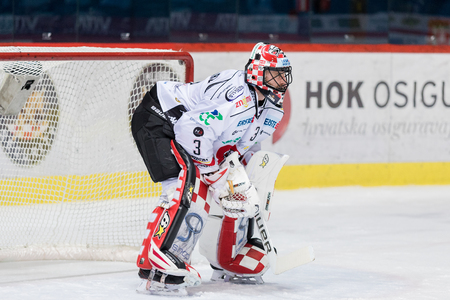 ZAGREB, CROATIA - OCTOBER 31, 2017: EBEL ice hockey league match between Medvescak Zagreb and Orli Znojmo. Orli Znojmo goalie Marek SCHWARZ (3) Editorial