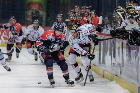 ZAGREB, CROATIA - OCTOBER 31, 2017: EBEL ice hockey league match between Medvescak Zagreb and Orli Znojmo. Tyler MORLEY (86) and Jakub STEHLIK (31) in duel