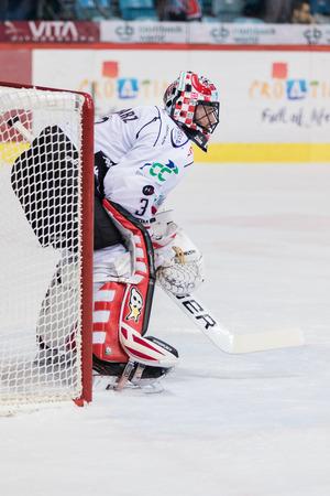 ZAGREB, CROATIA - OCTOBER 31, 2017: EBEL ice hockey league match between Medvescak Zagreb and Orli Znojmo. Orli Znojmo hockey goalie Marek SCHWARZ (3) Editorial