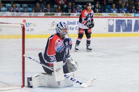 ZAGREB, CROATIA - OCTOBER 31, 2017: EBEL ice hockey league match between Medvescak Zagreb and Orli Znojmo. Medvescak Zagreb hockey goalie Kevin POULIN (30)