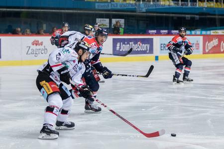 ZAGREB, CROATIA - OCTOBER 31, 2017: EBEL ice hockey league match between Medvescak Zagreb and Orli Znojmo. Adam RASKA (66) in action