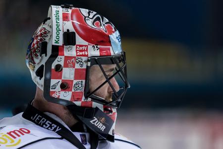 ZAGREB, CROATIA - OCTOBER 31, 2017: EBEL ice hockey league match between Medvescak Zagreb and Orli Znojmo. Hockey goalie close up
