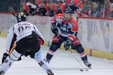 ZAGREB, CROATIA - OCTOBER 31, 2017: EBEL ice hockey league match between Medvescak Zagreb and Orli Znojmo. Marko POYHONEN (39) wearing full head protection helmet
