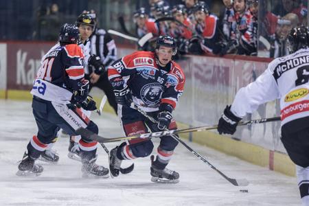 ZAGREB, CROATIA - DECEMBER 21, 2017: EBEL ice hockey league match between Medvescak Zagreb and Dornbirn. Tyler MORLEY (86) Editorial