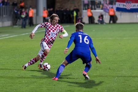 RIJEKA, CROATIA - OCTOBER 06, 2017: European qualifier for 2018 FIFA World CUp Russia. Croatia vs Finland. Luka Modric (10) in action