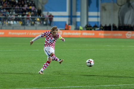 RIJEKA, CROATIA - OCTOBER 06, 2017: European qualifier for 2018 FIFA World CUp Russia. Croatia vs Finland. Luka Modric (10) shoots at the goal