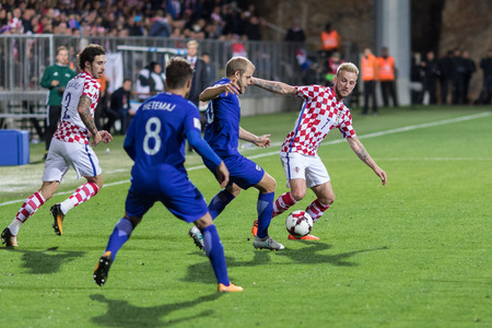 RIJEKA, CROATIA - OCTOBER 06, 2017: European qualifier for 2018 FIFA World CUp Russia. Croatia vs Finland. Ivan Rakitic (7) in duel