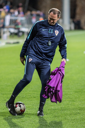 RIJEKA, CROATIA - OCTOBER 06, 2017: European qualifier for 2018 FIFA World CUp Russia. Croatia vs Finland. Josip Joe Simunic with the ball