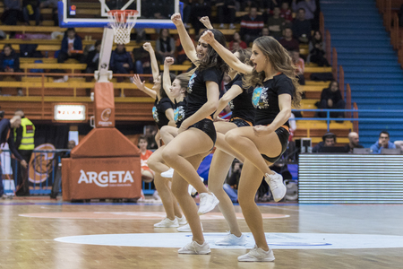 ZAGREB, CROATIA - MARCH 25, 2018: Cedevitas cheerleaders performing during the basketball match in ABA league
