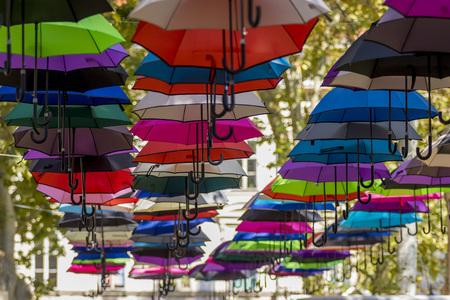 Colorful umbrellas in the sky Stock Photo - 108099175