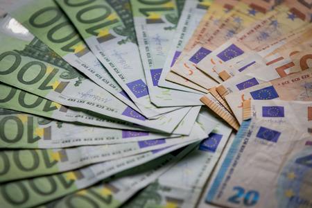 Euro currency money cash money, used euro bills