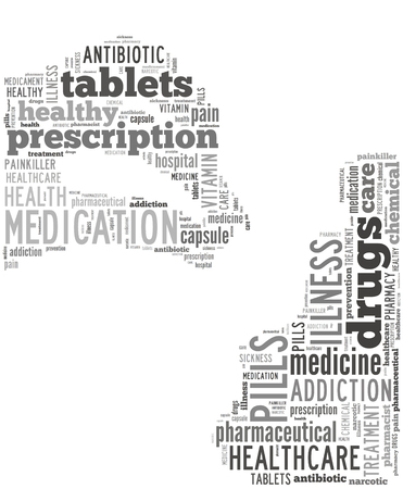 Woman with open mouth taking pill word cloud, background