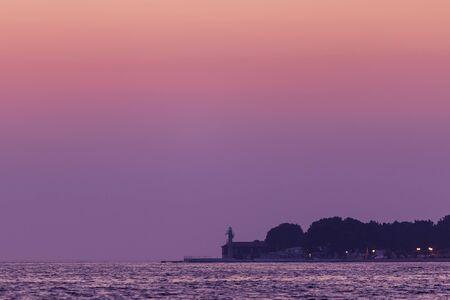 Puntamika lighthouse in Zadar at sunset, Dalmatia, Croatia