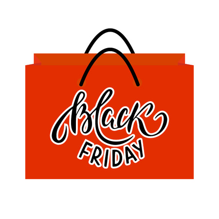 Red Shopping Bag with Black Friday text.