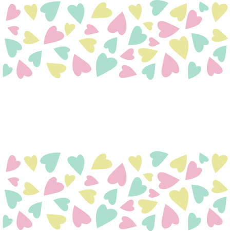 Vector illustration for Valentines Day. Copy space for text., Pink, white, yellow and blue colors. Ilustração