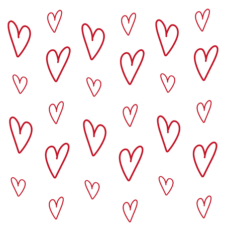 Vector background with red hearts. Perfect for valentines day flat design. Love background heart shape texture pattern for valentine day. Design gifts card, happy romantic holiday.