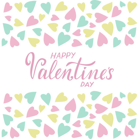 Vector illustration for Valentines Day. Holiday card with greeting Happy Valentines day. Copy space for text. Pink, white, yellow and blue colors. Design card. Pastel colors. Иллюстрация