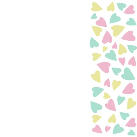 벡터 일러스트 레이 션 발렌타인에 대 한. 휴일 카드. 텍스트를위한 공간을 복사합니다. 분홍색, 흰색, 노란색 및 파란색 색상. 디자인 카드. 파스텔 색 일러스트
