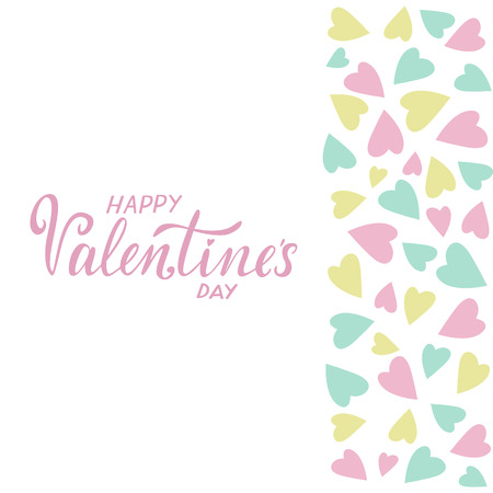 Vector illustration for Valentines Day. Holiday card with greeting Happy Valentines day. Copy space for text. Pink, white, yellow and blue colors. Design card. Pastel colors. Ilustração