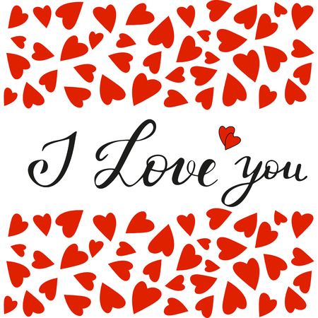 Vector illustration for Valentines Day. Holiday card with romantic text I Love you. Copy space for text. Red, white, black colors. Design elements for Valentines day card