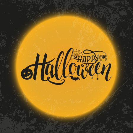 Vector illustration for Halloween. Happy Halloween Text Banner. Poster for Halloween on color background. Autumn poster with pumpkin, web, bat, spider.