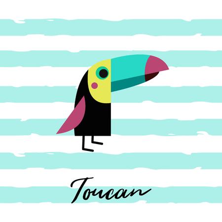 Vector illustration of toucan. Toucan bird. Vector card. Cute children colorful toucan illustration. Standing Toucan bird for kids. Flat design.