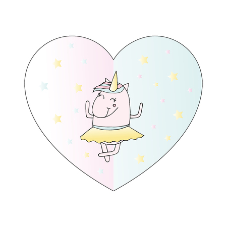 Illustration of unicorn ballerina in skirt. Card for kid. Cute magic cartoon fantasy. Design for children