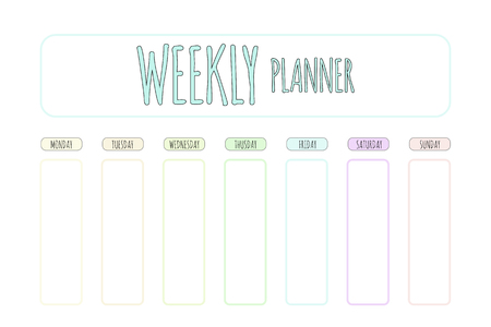Cute vector planner. Cute page for notes. Notebooks, diary, school accessories. Cute romantic planner page. Weekly Planner Template. Organizer and Schedule.