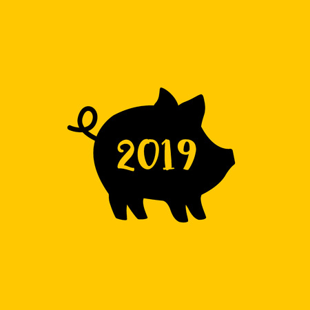 Vector illustration of Pig and 2019 text. Cute piggy silhouette, Zodiac symbol of 2019 New year. Cute cartoon pig useful for invitations, scrapbook, Christmas card, poster, sticker, clip art.