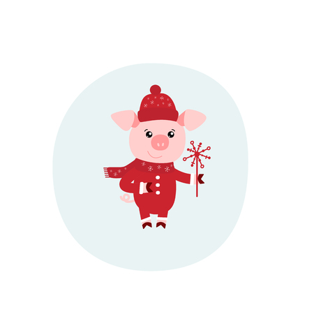 Vector illustration of cute pig. Zodiac simbol of Chinese New Year 2019. Useful for calendar, diary, banner, greeting card. Christmas card, poster, sticker, clip art.