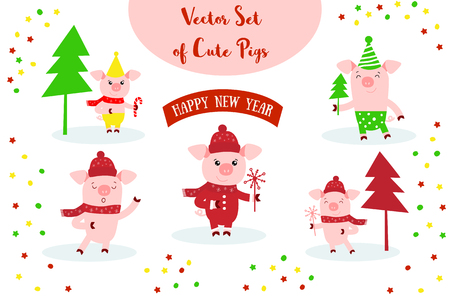 Vector illustration of Pig and Happy New Year text. Zodiac symbol of 2019 year. Cute cartoon pig useful for invitations, scrapbook, Christmas card, poster, sticker, clip art.