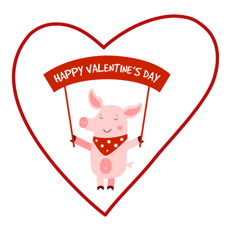 Vector illustration for Valentines Day with pig. Romantic greeting card, typography poster. Vector banner template. EPS 10